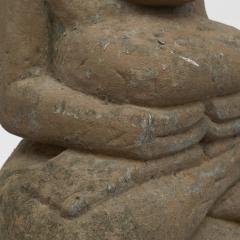 17 18TH CENTURY BURMESE SANDSTONE BUDDHA SEATED IN MEDITATION - 2139565