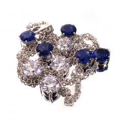 17 5 Inch Elegant necklace of Sparkling Blue Kyanite and White Zircon Gemstones - 1631494