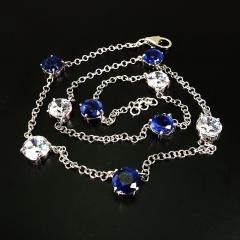17 5 Inch Elegant necklace of Sparkling Blue Kyanite and White Zircon Gemstones - 1631495