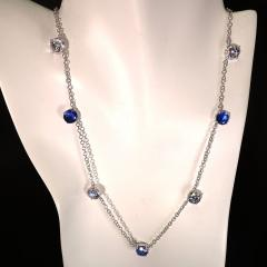 17 5 Inch Elegant necklace of Sparkling Blue Kyanite and White Zircon Gemstones - 1631496