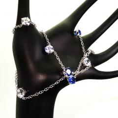 17 5 Inch Elegant necklace of Sparkling Blue Kyanite and White Zircon Gemstones - 1631497