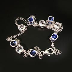 17 5 Inch Elegant necklace of Sparkling Blue Kyanite and White Zircon Gemstones - 1631506