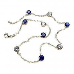 17 5 Inch Elegant necklace of Sparkling Blue Kyanite and White Zircon Gemstones - 1636081