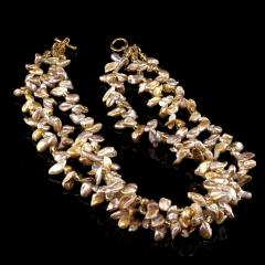 17 Inch Three strand Free form Goldy Gray Pearl Gemjunky Necklace - 1926850