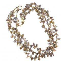17 Inch Three strand Free form Goldy Gray Pearl Gemjunky Necklace - 1926852