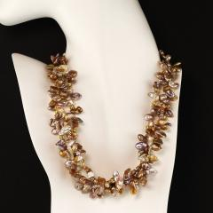 17 Inch Three strand Free form Goldy Gray Pearl Gemjunky Necklace - 1926853