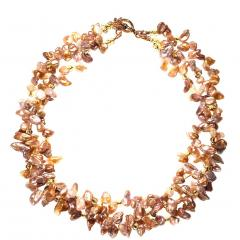 17 Inch Three strand Free form Goldy Gray Pearl Gemjunky Necklace - 1926864