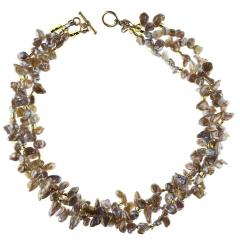 17 Inch Three strand Free form Goldy Gray Pearl Gemjunky Necklace - 1926865