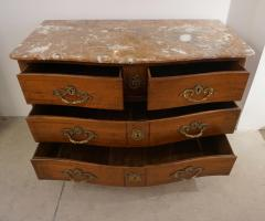 1770s Bow Front French Provincial Marquetry Commode in Solid Walnut Marble Top - 1041625