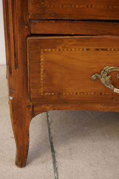 1770s Bow Front French Provincial Marquetry Commode in Solid Walnut Marble Top - 1041629
