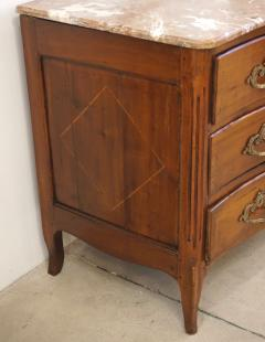 1770s Bow Front French Provincial Marquetry Commode in Solid Walnut Marble Top - 1041630