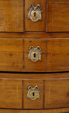 1770s Bow Front French Provincial Marquetry Commode in Solid Walnut Marble Top - 1041633