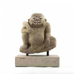 17TH 18TH CENTURY CARVED SANDSTONE TEMPLE SCULPTURE OF DEMON FROM BURMA - 1795035