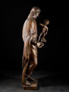17th C Baroque Saint Italian School Wooden Sculpture of Saint Anthony - 2025143