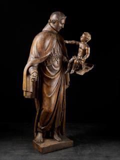 17th C Baroque Saint Italian School Wooden Sculpture of Saint Anthony - 2025145