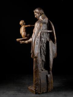17th C Baroque Saint Italian School Wooden Sculpture of Saint Anthony - 2025146