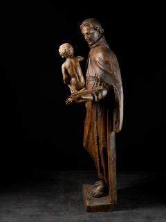 17th C Baroque Saint Italian School Wooden Sculpture of Saint Anthony - 2025147