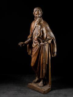 17th C Baroque Saint Italian School Wooden Sculpture of Saint Anthony - 2025148