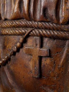 17th C Baroque Saint Italian School Wooden Sculpture of Saint Anthony - 2025149