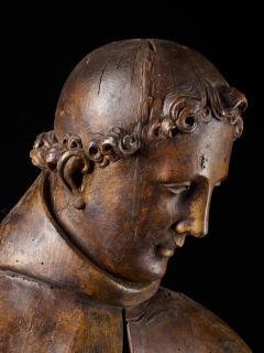 17th C Baroque Saint Italian School Wooden Sculpture of Saint Anthony - 2025151
