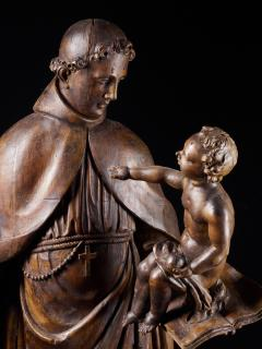 17th C Baroque Saint Italian School Wooden Sculpture of Saint Anthony - 2025152