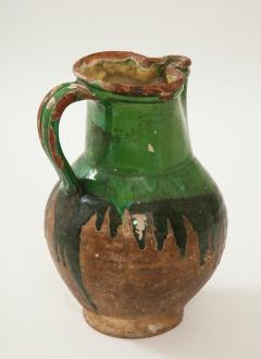 17th C Earthenware Pitcher with Yellow Green Glaze Friesland - 1289584
