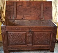 17th Century English Carved Oak Dowry Chest - 1659776