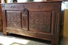 17th Century English Carved Oak Dowry Chest - 1659777
