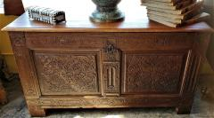 17th Century English Carved Oak Dowry Chest - 1659778