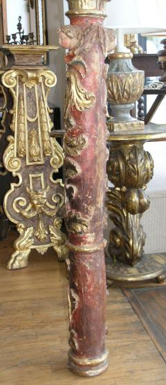 17th Century Italian Baroque Parcel Gilt and Paint Column - 567835