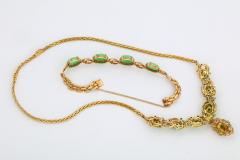 18 Karat Gold Diamonds and Chinese Jade Necklace and Bracelet Set - 936540