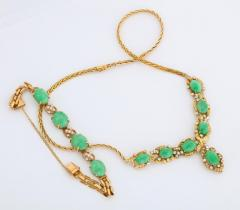 18 Karat Gold Diamonds and Chinese Jade Necklace and Bracelet Set - 936541
