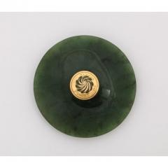 18 Karat Gold and Spinach Jade Round Box with Cover by Piaget Geneve - 1163577
