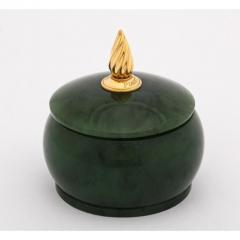 18 Karat Gold and Spinach Jade Round Box with Cover by Piaget Geneve - 1163584