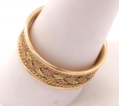 18 Karat Two Tone Yellow and Rose Gold Braided Ring Wedding Band Size 9 - 1240151