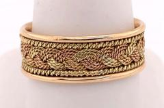 18 Karat Two Tone Yellow and Rose Gold Braided Ring Wedding Band Size 9 - 1240152