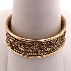 18 Karat Two Tone Yellow and Rose Gold Braided Ring Wedding Band Size 9 - 1240153