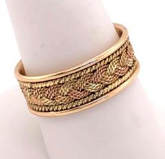 18 Karat Two Tone Yellow and Rose Gold Braided Ring Wedding Band Size 9 - 1240156