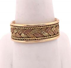 18 Karat Two Tone Yellow and Rose Gold Braided Ring Wedding Band Size 9 - 1240157