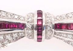 18 Karat White Gold Ruby and Diamond Brooch Pin Art Deco Style - 1246056