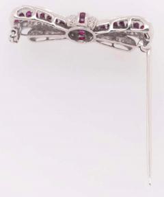 18 Karat White Gold Ruby and Diamond Brooch Pin Art Deco Style - 1246058