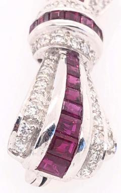 18 Karat White Gold Ruby and Diamond Brooch Pin Art Deco Style - 1246059