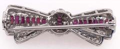 18 Karat White Gold Ruby and Diamond Brooch Pin Art Deco Style - 1246060