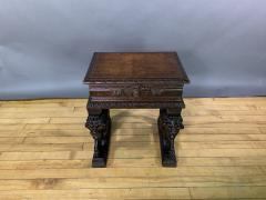 1875 French Carved Side Table Stranding Lion Supports - 1805923