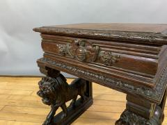 1875 French Carved Side Table Stranding Lion Supports - 1805924