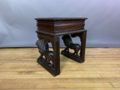 1875 French Carved Side Table Stranding Lion Supports - 1805928