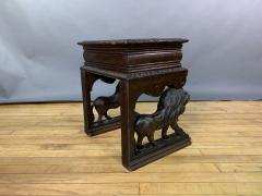1875 French Carved Side Table Stranding Lion Supports - 1805929