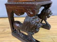 1875 French Carved Side Table Stranding Lion Supports - 1805931