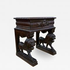 1875 French Carved Side Table Stranding Lion Supports - 1810651