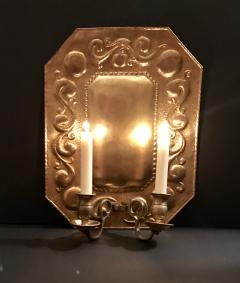 1880 Pair of Dutch Sconces Repousse Brass Two Light Wall Blaker - 754469